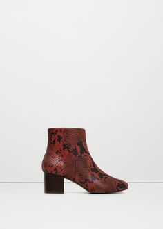 Snake-effect ankle boots 7.5 | MANGO
