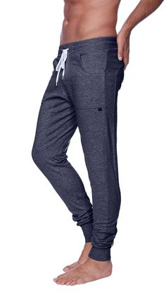 """Long Cuffed Jogger Yoga Pants (Charcoal)   This medium-weight Modal fabric (super soft Birch tree fiber) Yoga pant is perfect for any climate & will be your favorite look! It's FORM + Function + Fashion! Selected by Yoga Journal Magazine panel of Instructors as """"Best Mens Yoga Pants"""" (May 2015 edition). Take it here - http://yoga-eco-clothing.com/product/long-cuffed-perfection-yoga-pants-for-men-charcoal/"""