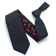 General Knot & Co: The Midnight Indigo & Plum Geo Blossom Necktie