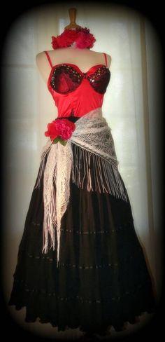 Sexy DAY OF THE DEAD Bustier COSTUME Dress 5 Pc MEXICAN Dia de los Muertos L XL