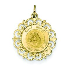 14K Gold Saint Anthony Medal Pendant >>> Want additional info? Click on the image.