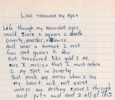 Life Through My Eyes – Tupac's Handwritten Poem