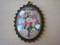 1PC  Floral Bouquet Pendant  55x40mm Oval  Antique by ZARDENIA, $4.25