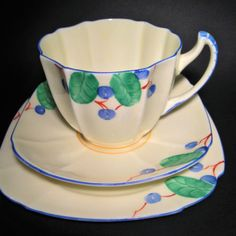 Paragon 1930s Art  Deco Handcrafted England Hand Painted Vintage China Trio Set