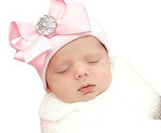 "Infanteenie Beenie ""Her First Bling Bow"" Pink & White Newborn Hospital Hat w/ Bow Infanteenie Beenie http://www.amazon.com/dp/B00JT1Y34U/ref=cm_sw_r_pi_dp_6FGmub12NNF8Q"