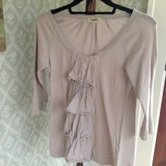 Anthropologie top Sz md light grey Knit light grey top with ruffles and 3/4 sleeves from Anthropologie. Anthropologie Tops