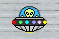 Extraterreste Pixel art para parede no Elo7 | Eduardo Pixel Art Geek (EC4799) Pixel Art, Geek Stuff, Personalized Gifts, Made By Hands, Wall, Geek Things