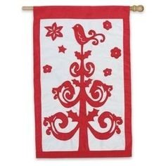 Christmas Tree Regular Size Applique Flag by House-Impressions. $7.19. Fade-resistant colors. Made from excellent quality material. Tight, detailed stitching. Hand-crafted. Soft, high-quality nylon fabric. A stunning and artistic display of a beautiful Christmas greeting. A tree shaped as an adorning fleurish is bright red against a white background. Greet family, friends, and neighbors these holidays with a stunning, spirited holiday flag. Our Applique Flags are...
