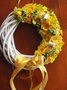 Dekorácie - Venček v žltých farbách - 5247534_