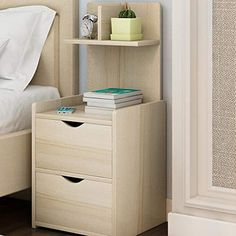 Bedside table GJM Shop Practical Type Wood-Based Panel with Drawer Simple Bedroom Furniture Bedside Cabinet (Color : Size : Double Layer) Wood Bedroom Furniture, Furniture Plans, Home Furniture, Furniture Design, Diy Room Decor, Bedroom Decor, Dressing Table Design, Bed Frame With Storage, Bed With Drawers
