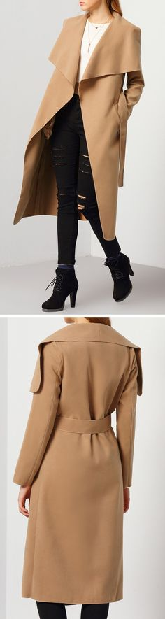 Whatever it is you are wearing for winter, a sophisticated trench coat is all it takes to give you that instant chicness. So slip into this khaki colared trench coat to give you that. It comes with a wide lapel collar that stretches to the sleeves, then finished with a waist band for an adjustable fit.