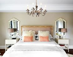 Glam bedroom with pink pillows and a tufted bench via This Is Glamorous - Model Home Interior Design Small Master Bedroom, Dream Bedroom, Home Decor Bedroom, Living Room Decor, Bedroom Ideas, Master Bedrooms, Design Bedroom, Bedroom Apartment, Bedroom Furniture