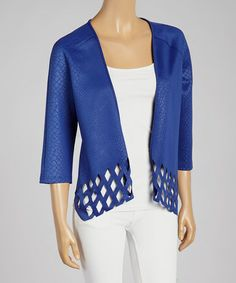 This Blue Perforated Open Cardigan is perfect! #zulilyfinds