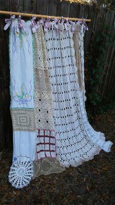 Shabby Chic Vintage Crochet Shower by BohoBagsNThings on Etsy #shabbychicbathroomscurtains