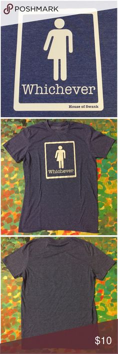"""NWOT Whichever Bathroom HB2 Law Protest Tee Shirt NWOT Whichever Bathroom HB2 Law Protest Tee Shirt by House of Swank --- Who cares what bathroom you use? --- gender neutral tee --- unisex size medium --- 65% polyester 35% cotton --- heather blue/purple, Color is the most accurate in the first picture --- preshrunk --- 20"""" bust --- 28"""" length --- fabric has stretch --- new without tags --- thank you for visiting my boutique, please feel free to ask any questions House of Swank Tops Tees…"""