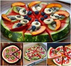 Who says Pizza can't be healthy? These amazing Watermelon and Fruit Pizzas are both delicious and healthy. Watermelon Fruit Pizza, Pizza Fruit, Watermelon Hacks, Eating Watermelon, Pizza Food, Fruit Pie, Fruit Salad, Healthy Foods To Eat, Healthy Snacks