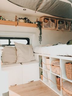 Van Conversion Interior, Camper Van Conversion Diy, Van Conversion Kitchen, Van Conversion Bed Ideas, Ford Transit Camper Conversion, Cargo Van Conversion, Diy Van Conversions, Bus Living, Tiny Living