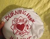 Burning Hunk of Love Custom Painted Fire Man Fighter White Imagine Cover with Velcro