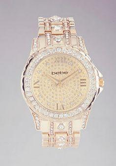 Crystal Encrusted Link Watch $69.00 #bebe.com