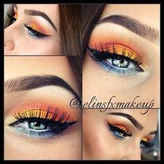 Orange yellow blue eyeshadow