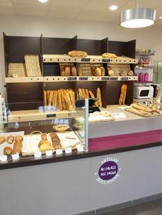 Création et agencement de magasins - Boulangerie, pâtisserie - DESPERRIER Pains, Cafe Design, Donuts, Bakery, Breakfast, Couple, Food, Bakery Shops, Store Design