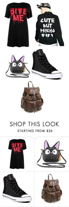 """Untitled #9"" by queenharley666 ❤ liked on Polyvore featuring Boohoo, Studio Ghibli, Converse and Frye"