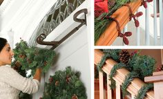 Check out these creative ways to hang garland around a garage door, on a banister or even in a doorway...without using nails.