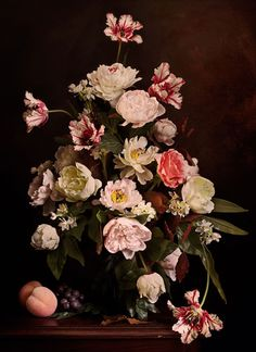 "Rikard Osterlund's series ""Flowers"" are digital photographic emulations of Baroque era paintings."