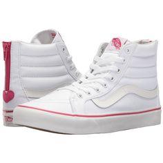 Vans SK8-Hi Slim Zip ((Valentines) True White/Beet Purple) Skate Shoes (£60) ❤ liked on Polyvore featuring shoes, sneakers, purple high top sneakers, vans sneakers, vans shoes, white sneakers and white shoes