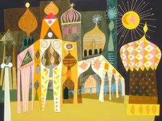 """Vintage Mary Blair """"Morocco"""" from her work on Disney's """"It's a Small World"""" Pavillion."""