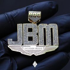 """Custom 14K Yellow Gold Baby Size """"JBM"""" Pendant Fully Iced Out. Specially made for @kingdeazel_jbm  #CustomJewelry #IFANDCO"""