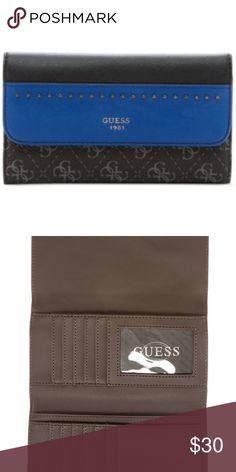 Guess Women's Indigo Multi Slim Clutch TriFold Guess Women's Hailey Slim Clutch Tri-Fold Wallet  Product Description: Faux-Leather Exterior Polished Metal Hardware Front Logo Emblem With Studs Fold Over Flap With Snap Closure 12 Credit Card Slots 1 ID Window 3 Bill Slip Pockets Back Exterior Zipper Pocket Dimension: 4 H x 7.5 W Inch Model Name: Hailey Guess Bags Cosmetic Bags & Cases