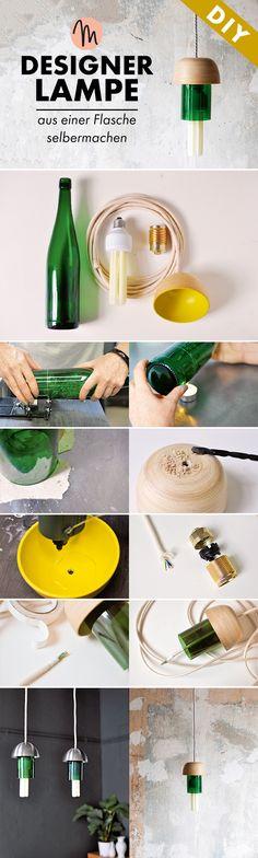 Designerlampe aus einer a - Haus How to Crafts Diy Design, Do It Yourself Decorating, Diy Home Accessories, Diy Porch, Diy Bottle, Bottle Lights, Diy Interior, Diy Table, Diy Home Decor