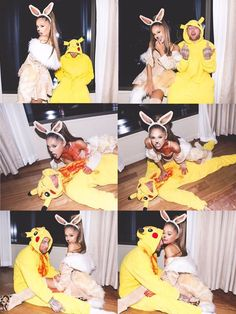 Ariana Grande's first Halloween look with Mac Miller as Eevee and Pikachu⚡️ i'm shook, so excited to see outfit 2 & 3 fully♡