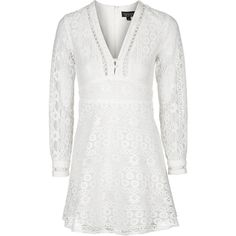 TopShop Lace Mini Dress (1.313.805 IDR) ❤ liked on Polyvore featuring dresses, cream, short lace dress, white lace dress, white dress, white cocktail party dresses and cream lace dress