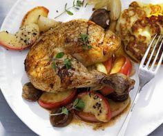 Rezept: Hühnchen mit Esskastanien und Äpfeln Tasty, Yummy Food, Eat Smarter, Poultry, Recipies, Turkey, Dishes, Chicken, Meat