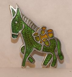 "Sterling Silver Mexico signed Taxco ""JS"" Vintage Enameled Donkey"