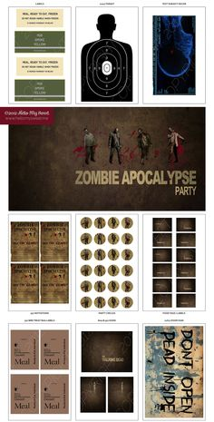 Walking Dead Party - Zombie Party - Halloween Party - Survivalist - Printable Party Dessert Table Decorations - FULL SET. $25.00, via Etsy.