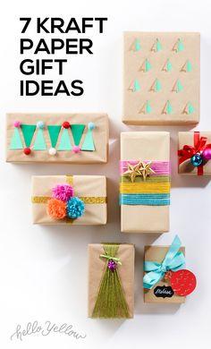 7 Simple Kraft Paper Gift Ideas #LeonsHelloHoliday Paper Gifts, Diy Paper, Kraft Paper, Christmas Holidays, Christmas Decorations, Christmas Ideas, Holiday Crafts, Holiday Decor, Christmas Wrapping
