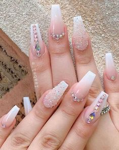 32 pretty and eye-catching nail art designs - - We've rounded up super pretty nail ideas and colors we're sure that will wow neither will a matching crisp-white mani, nail art designs with. Bling Acrylic Nails, Glam Nails, Best Acrylic Nails, Rhinestone Nails, Coffin Nails, 3d Nails, Bling Nail Art, Wedding Acrylic Nails, Best Nails