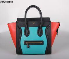 SAC CELINE LUGGAGE MINI LAC BLEU / NOIR / ROUGE DE PASTÈQUE 1.Marque  : celine 2.Style  : celine Luggage Mini 3.couleurs :  Lac bleu / noir / rouge de pastèque 4.Matériel : Importer en cuir d'origine 5.Taille: W30 x H15 x D30 cm Celine Luggage, Luggage Bags, Tote Handbags, Clutches, Totes, Mini, Style, Fashion, Red