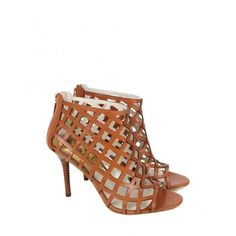 Michael Kors Womens Tan Yvonne Lattice Leather Boots ($260) ❤ liked on Polyvore