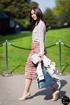 London FW SS15 #StreetStyle: Araya Alberta Hargate wearing Burberry after Burberry fashion show.