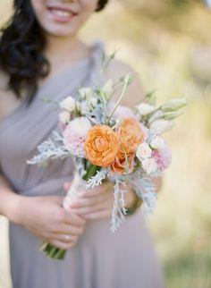 Bridesmaids flowers, Lizianthus , dahlias, dusty miller