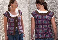 Kockás világ: Nagyi mellény Crochet Jacket, Knit Crochet, Crochet Tops, Short Sleeve Dresses, Dresses With Sleeves, Knitting, Blouse, Skirts, Jackets