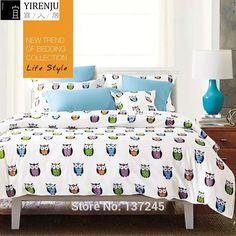white bedding set 4pcs cotton queen size duvet quilt bed cover bedclothes 3d cartoon kids owl animals bedclothes linen bedsheet