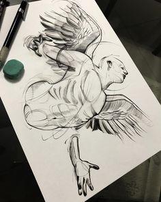 Arte criada pelo tatuador Robson Fig que trabalha em São Paulo. Desenho de anjo em sketch