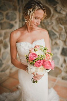 Two shades of pink with the accents of yellowVibrant, St. John, Destination Wedding