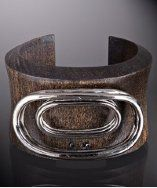 Wood and White Gold Single Link Overlay Concave Cuff by Paige Novick