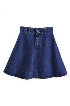ROMWE | ROMWE High Waist Blue Denim A-line Skirt, The Latest Street Fashion